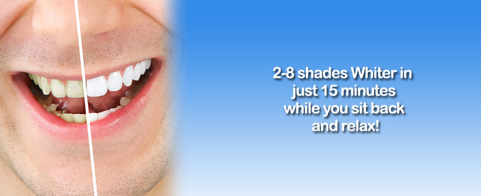 Teeth 2-8 shades whiter in just 15 minutes.